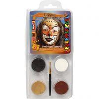 Pintura facial al agua - Motif Set, león, surtido de colores, 1 set