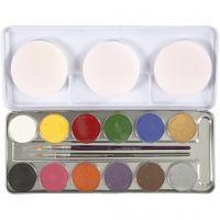 Pintura facial a base de agua, surtido de colores, 12 color/ 1 set
