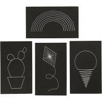 Arte de Cuerda, medidas 20x12 cm, grosor 10 mm, negro, 16 ud/ 1 paquete