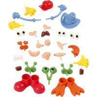 Partes de cuerpo, medidas 0,8-6,8 cm, surtido de colores, 26 ud/ 1 paquete