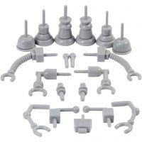 Partes del robot, medidas 0,5-6 cm, gris, 19 ud/ 1 paquete