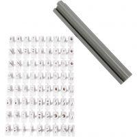 Set de sellos de caucho, Letras, números, A: 6 mm, blanco, 1 set