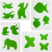 Moldes decorativos, Animales, A: 6+8+10 cm, profundidad 9 mm, medidas 14,9x22 cm, 4 ud/ 1 paquete