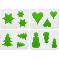 Moldes decorativos, Navidad, A: 6+8+10 cm, profundidad 9 mm, medidas 14,9x22 cm, 4 ud/ 1 paquete