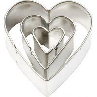 Cortador de metal, corazón, medidas 40x40 mm, 3 ud/ 1 paquete