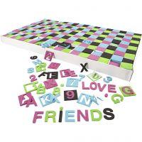 Letras y números de goma EVA, medidas 30x30 mm, negro, verde, rosa, turquesa, 1800 stdas/ 1 paquete