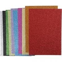 Hojas de goma EVA, A4, 210x297 mm, grosor 2 mm, purpurina, surtido de colores, 10 hojas stdas/ 1 paquete