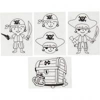 Hojas de Shrink Plastic con motivos, Piratas, 10,5x14,5 cm, grosor 0,3 mm, mate transparente, 4 hoja/ 1 paquete