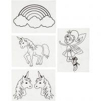 Hojas de Shrink Plastic con motivos, Unicornio, 10,5x14,5 cm, grosor 0,3 mm, mate transparente, 4 hoja/ 1 paquete