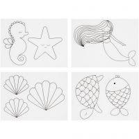 Hojas de Shrink Plastic con motivos, Sirena, 10,5x14,5 cm, grosor 0,3 mm, mate transparente, 4 hoja/ 1 paquete