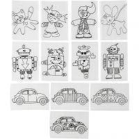 Hojas de Shrink Plastic con motivos, 10,5x14,5 cm, grosor 0,3 mm, mate transparente, 36 hoja/ 1 paquete