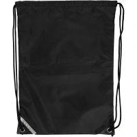 Bolsa con cordón, medidas 31x44 cm, negro, 1 ud