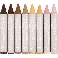 Ceras, L. 10 cm, dia: 15 mm, colores de piel, 8 ud/ 1 paquete
