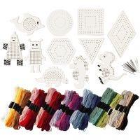 Figuras para bordar con hilo , medidas 8-17 cm, surtido de colores, 1 set