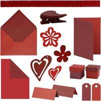 Happy moments- Kit de Tarjetería, rojo, burdeos, rojo, burdeos/rojo, 160 uds de vta/ 1 paquete