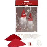 Creative mini kit, Duende de Navidad para colgar, A: 11 cm, 1 set