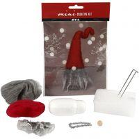 Mini kit creativo, Duende de Navidad con barba gris, A: 13 cm, 1 set
