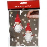 Mini kit creativo, Duendes de Navidad femeninas, A: 8 cm, 1 set