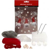Mini kit creativo, Duende de Navidad en una cuerda, A: 6 cm, 1 set