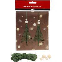 Mini kit creativo, Árbol de Navidad de macramé, A: 11 cm, 2 ud/ 1 set