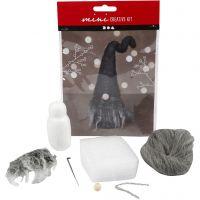 Mini kit creativo, Duende de Navidad, A: 13 cm, gris mezclado, 1 set