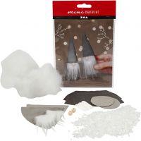 Mini kit creativo, Duendes de Papá Noel escandinavos., A: 12 cm, gris, 1 set