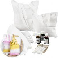 Kits: Toallas y bolsas de té teñidas con Batik, 1 set