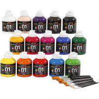Pintura acrílica A-Color, glossy, surtido de colores, 1 set