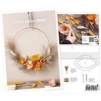 Postal, Corona de otoño hecha de papel crepé, A5, 14,8x21 cm, 1 ud