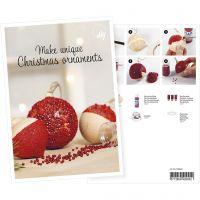 Postal, Bolas de Navidad con mini cuentas de vidrio, A5, 14,8x21 cm, 1 ud