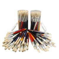 Pinceles de pintura para niños, Redondo,plano, L. 19 cm, A: 15 mm, 60 ud/ 1 paquete