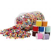 Cubo de plástico con cuentas y cuerdas elásticas, 1 set