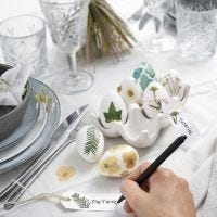 Easter eggs decorated with dried flowers