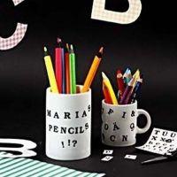 A Porcelain Mug with Color Dekor Letters