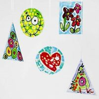 Hanging Glass Decorations with Window Color