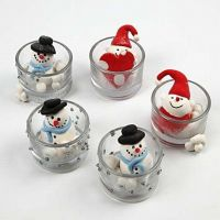 Silk Clay Figures in Candle Holders