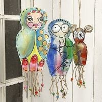 Hanging painted Canvas Figures
