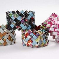 A Woven Bracelet from Wrapping Paper