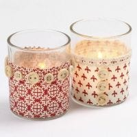 Candle Holders with Fabric and Buttons