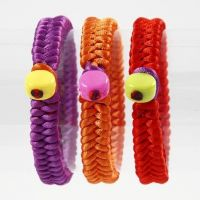 Braided Satin Bracelets with Plastic Beads
