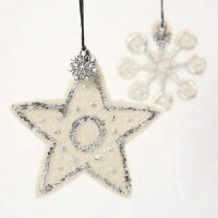 Star & Snowflake from Felt with Imitation Metal Leaf & Charms