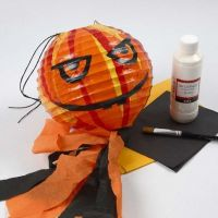 A Pumpkin Lantern made from a Rice Paper Lamp