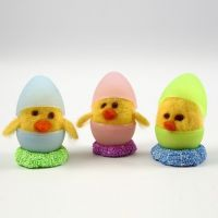 A Needle Felted Chick in a Two-Piece Plastic Egg