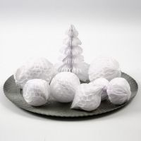 Decorations and Snowballs made from Honeycomb Paper