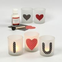 Candle Holders with a Love Message made from glued on Paper
