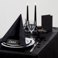 Inspiración para fiesta con decoraciones de mesa negras, etc.
