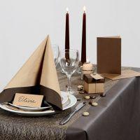 Inspiración para fiesta con decoraciónes de mesa marrones, etc.