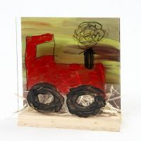 A Tractor in a Landscape in a 3D two-part Combination Frame