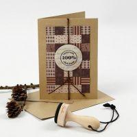Postal de Navidad con patchwork de tiras de papel