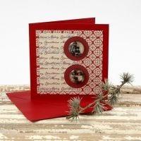 Postal de Navidad con cabujones y papel Vivi Gade